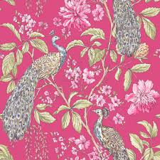 Raspberry Bedroom Hibiscus Raspberry Peacock Floral Wallpaper Departments Diy At