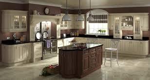cream kitchen cabinets with dark island