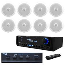 in wall in ceiling dual 8 inch speaker system directable tweeter 8 2 way flush mount white4 channel high power stereo speaker selector300 watt