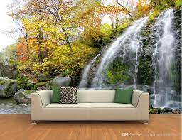 3D Nature Forest Waterfall Full Wall ...