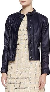 navy leather jackets tory burch sandra leather snap jacket