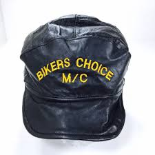 details about vintage biker hat black leather motorcycle club biker s choice mc mary elastic