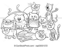 cats group cartoon ilration color book