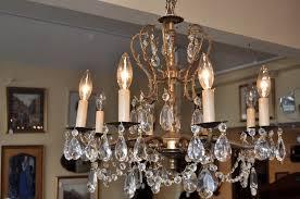 item f6233 vintage 1950 s bronze chandelier w czech italian crystals