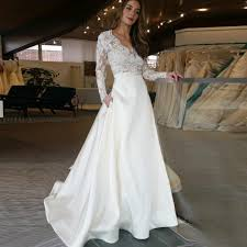A Line V Neck Long Sleeves Sweep Train Satin Wedding Dress With