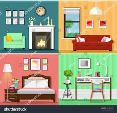 colorful furniture. Set Of Colorful Graphic Room Interiors With Furniture Icons: Living Rooms Sofa, Window