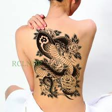 водонепроницаемая временная татуировка наклейка змея роза цветок тело искусство