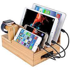 InkoTimes Bamboo Charging Station Dock Organizer for Apple Watch, iPhone,  iPad, Universal Cell
