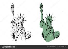 эскиз из статуя свободы нью йорк сша векторные иллюстрации