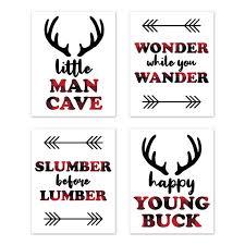 woodland buffalo plaid wall art prints