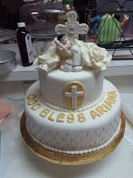 White And Gold Baptism Cake Cakecentralcom