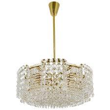 impressive lobmeyr langenzersdorf brass crystal chandelier austria 1950s