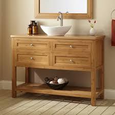 Open Shelf Vanity Bathroom Teak Wood Freestanding Bathroom Vanity In Natural Finished With