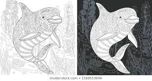 coloring page coloring book colouring picture with dolphin drawn in zentangle style antistress