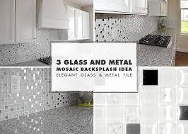 white glass metal backsplash tile luna pearl