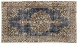 turkish natural over dyed vintage rug 1960s 1