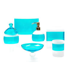 blue bath accessories le glass bathroom aqua set navy rug