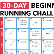 30 Day Beginners Running Challenge Calendar