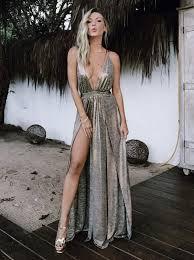 a line deep v neck floor length grey leather backless split sleeveless prom dress dressystar com