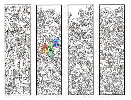 Bookmark Coloring Pages Coloring Bookmarks Mushroom Bookmark Coloring Page For Adults And Big Kids Four Printable Bookmarks To Color