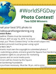 world square foot gardening day photo rules