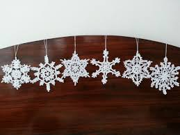 Christmas Decorations For The Wall Six Crochet Snowflake Ornaments White Christmas Decorations