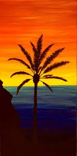 original sunset over ocean with palm tree by vigilvisionsartwork