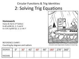 circular functions trig identities 2 solving equations ppt chart ra