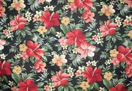 Vintage Floral Print Hawaiian Fabric Red Floral Print