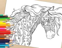 Small Picture Adult Coloring Book Page Decorative Horse Coloring Page for