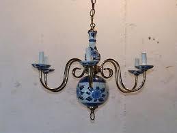vintage holland delft blue white porcelain brass chandelier fl dutch 6 arm