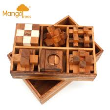 mango trees 6 puzzles deluxe box set 4 wooden brainteaser puzzles gift box set g