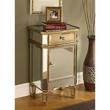gold and glass nightstand. Image Is Loading MirroredCabinetGoldTrimGlassMirrorChestDrawer On Gold And Glass Nightstand