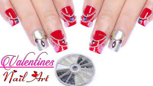 Valentines Nail Art using BPS Rhinestone 3D Nail Art Decorations ...