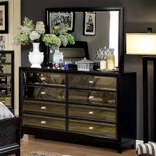 Mirrored Bedroom Dressers Furniture Of America Mendes 8 Drawer Black Dresser With Mirror