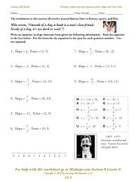 writing the equation of a line worksheet write the equation of a