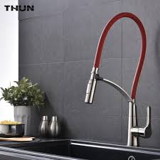 THUN New Arrival Stainless Steel Red Pull Out Kitchen Faucet Swivel Pull  Down Spout Kitchen Sink