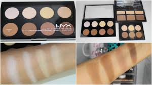 nyx highlight contour pro palette parison with kvd abh palettes swatches on brown skin you