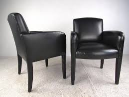 mid century modern pair of vintage leather side chairs by donghia for