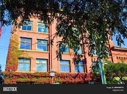 historic brick building which are artist loft apartments surrounded by lush gardens during autumn taken at an artist district neighborhood in victoria bc