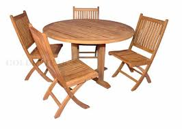 teak outdoor dining set padua 48 in round table 4 rockport side chairs
