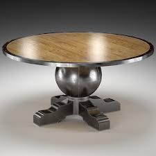 enzo industrial loft pine metal round dining table 3d model