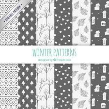 Pattern Collection New Winter Patterns Collection In Hand Drawn Style Vector Free Download