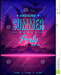 Poster Design Party Awesome Summer Beach Party Poster Design Stock Vector