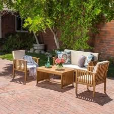 carolina 4 piece outdoor acacia sofa set by christopher knight home black outdoor furniture
