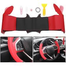diy pu leather car steering wheel covers wrap trim for honda civic 2016 2018 cod