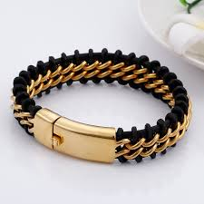 tl gold stainless steel leather bracelet