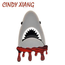 <b>CINDY XIANG New Design</b> Blooding Shark Brooches for Women ...