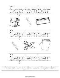 cursive word practice practice writing the word september worksheet twisty noodle