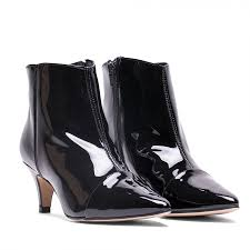 ankle boots sti heel patent leather black pointed shoes botines tacon aguja charol puntera fina